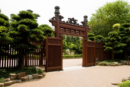 Wooden gate at the entrance of Nan Lian Garden, Hong Kong
