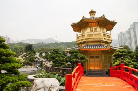 A golden pagoda in Nan Lian garden, Hong Kong