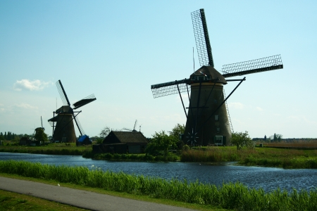 Traditional windmill in Kinderdijk, the Netherlands Stock Photo