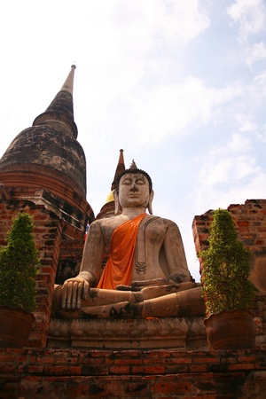 An ancient Buddha statue, Ayuthaya Thailand Stock Photo - 15627255