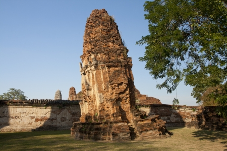 Ages pagoda at historical park, Ayutthaya, Thailand. This ruined pagoda was built around 400 years ago in the Ayutthaya kingdom period. Stock Photo - 17207895