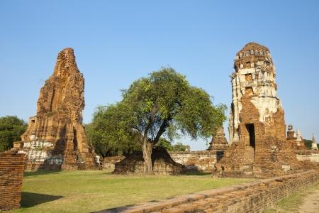 Ages pagoda at historical park, Ayutthaya, Thailand. This ruined pagoda was built around 400 years ago in the Ayutthaya kingdom period. Stock Photo - 17207911