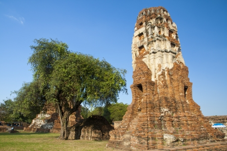 Ages pagoda at historical park, Ayutthaya, Thailand. This ruined pagoda was built around 400 years ago in the Ayutthaya kingdom period.