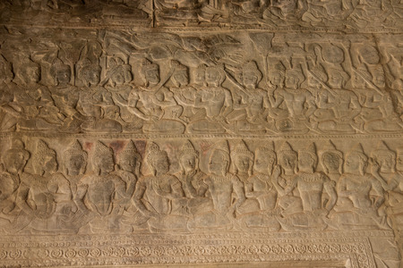 Decorated wall sculptures in Angkor Wat, Cambodia Stock Photo