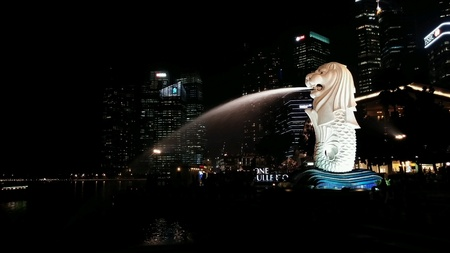 Merlion fountain, Singapore Stock Photo