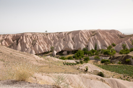 Landscape of sandstone mountain in Goreme - Cappadocia, Turkey