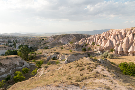 The landscape of sandstone mountain at Cappadocia, Turkey - UNESCO Stock Photo