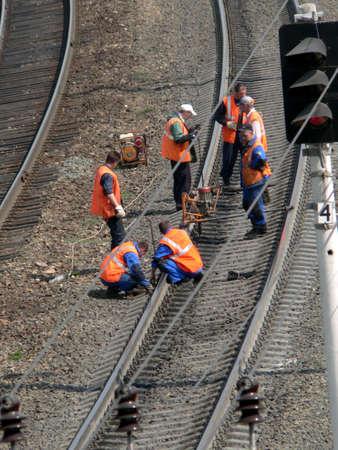 Railway workers make checkup photo