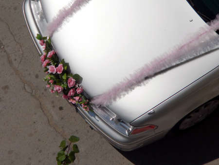 Decorated weddings car
