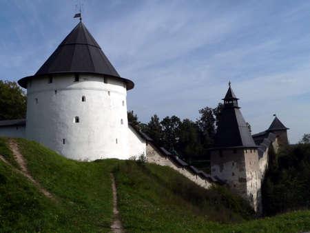 Wall of Pechora monastery. Russia, Pskov region. photo
