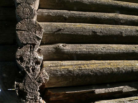 Log wall of the old loghouse in  countryside photo