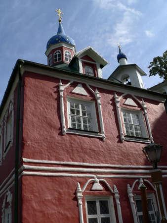 Church in Pechorsky priory. Russia, Pskov region. photo