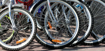 Wheels of the bicycles.  Stock Photo