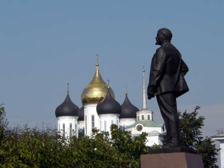 Church and Lenins monument. In the Pskov, Russia.