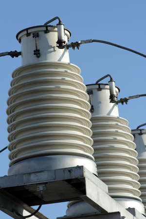 big insulators on the high-voltage substation 2 Stock Photo - 1290771