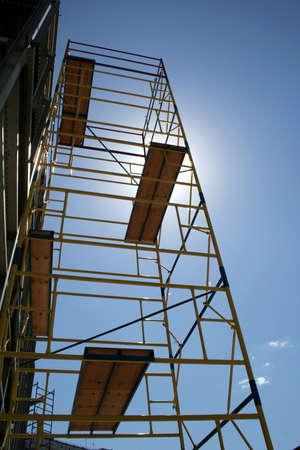 dais: Scaffolding on blue sky background