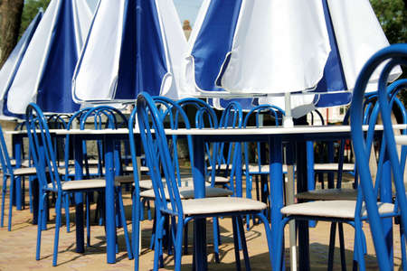 elbowchair: Summer cafe in white-blue colors Stock Photo