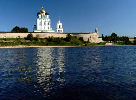 Kremlin of Pskov on river, Russia, Pskov  photo