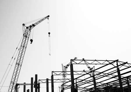 poling: Silhouettes of the construction, Black and white photo.