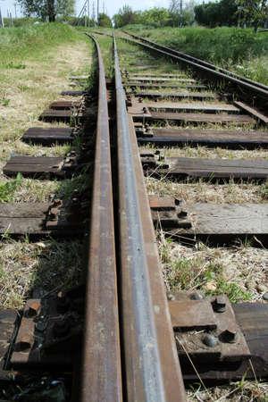 wood railroads: Old rusty railroad tracks