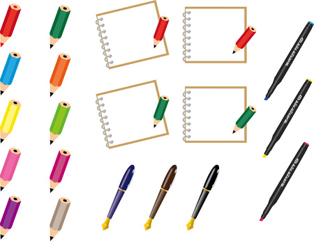 Notepad and pen and pencil set 일러스트