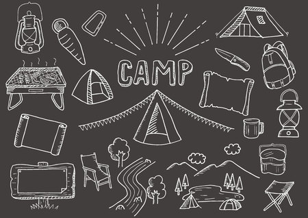 Camp-related illustrations set (black background) Banque d'images - 103531989