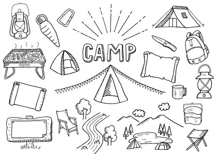 Camp-related illustration set