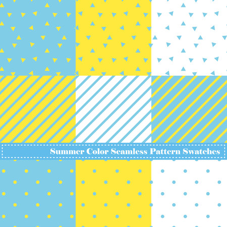 They are summer color seamless digital papers. Stripe and dots and triangles.