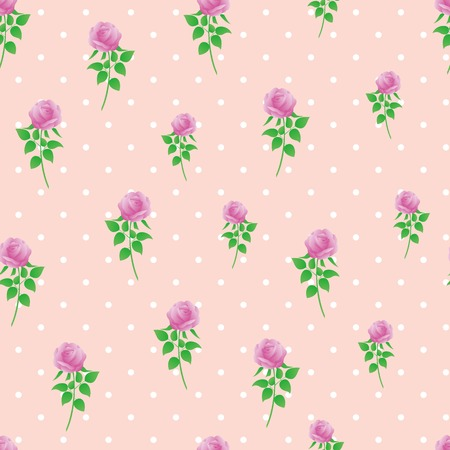 Pink rose digital paper polka dot background seamless pattern