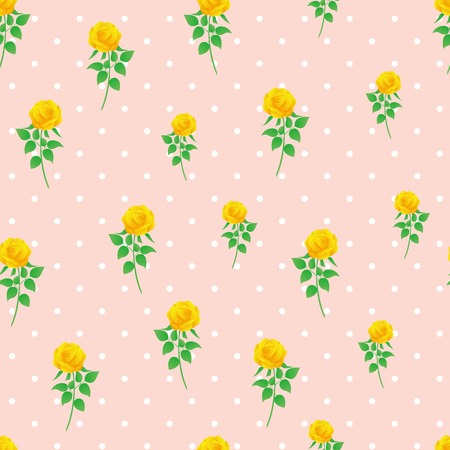 Yellow rose digital paper polka dot background seamless pattern