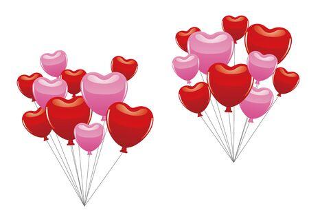 Heart shaped balloons illustration set Illusztráció