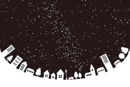 It is a background image of the townscape and night sky where buildings and trees are arranged.