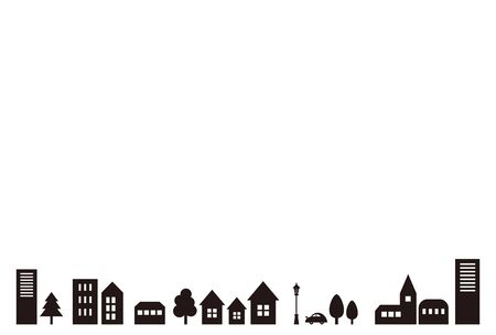 It is a background image of the townscape where buildings and trees are arranged. Vettoriali