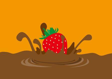 Illustration of strawberry diving into chocolate Illusztráció