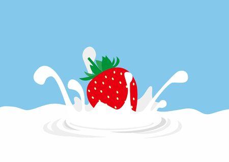 Illustration of strawberry dive to milk and splash