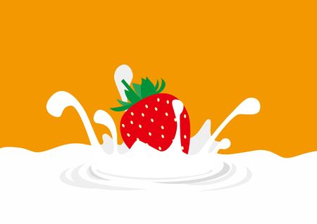 Illustration of strawberry dive to milk and splash