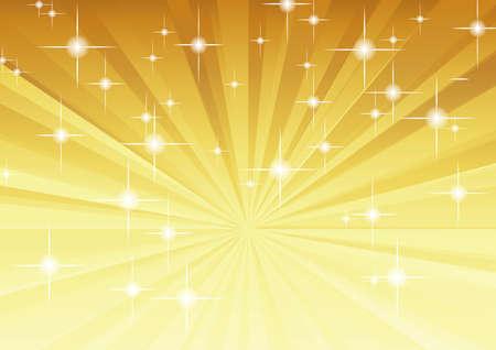 Radial background (gold, star, glitter) Illustration