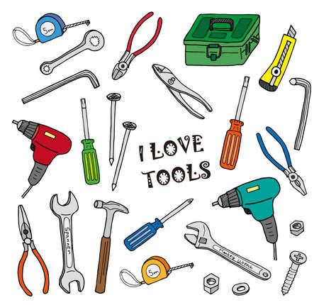 Tool illustration set (color)