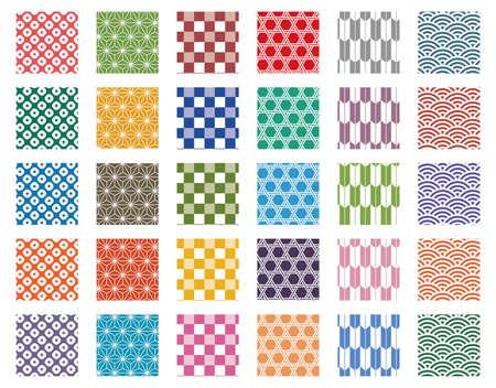 Japanese pattern seamless pattern set (swatch) Illusztráció