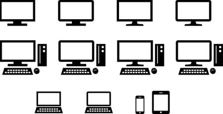 Icon set for pc, smartphone, tablet Illusztráció