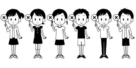 Illustrations of children holding incorrect tags.