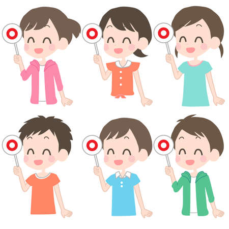 Illustration of children holding the correct answer tag.