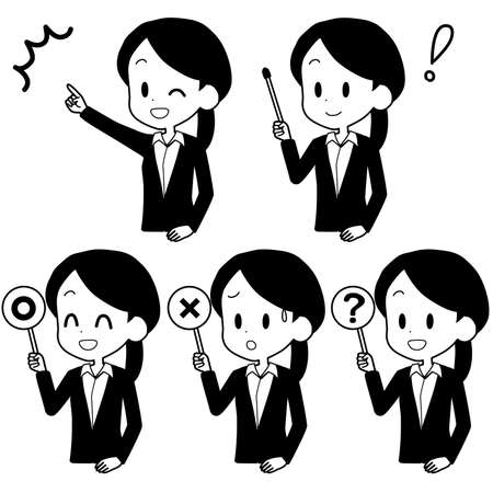 Illustration of a business woman holding a pointer.  イラスト・ベクター素材