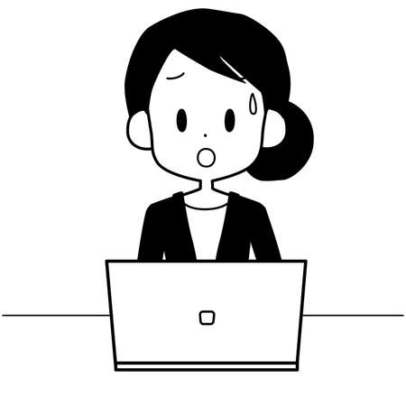 An illustration of a business woman operating a laptop with a troubled expression.
