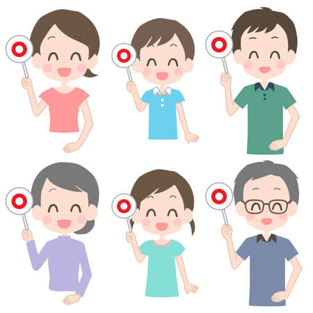 Illustration of a family holding a circle-marked tag.  イラスト・ベクター素材