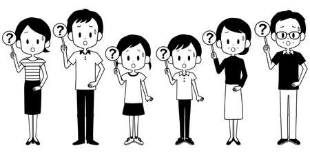 Illustration of a family with a question mark tag.