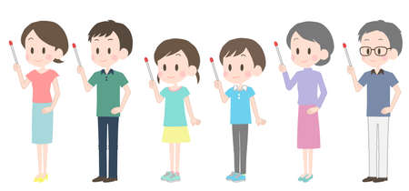 Illustration of a family with a pointer.  イラスト・ベクター素材