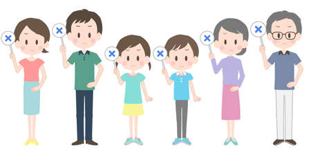 Illustration of a family with a cross-marked tag.