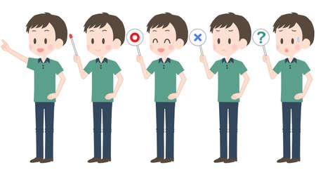 Illustration of a man holding a pointer etc. Ilustración de vector