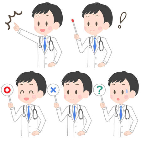Illustration of a doctor holding a pointer etc.